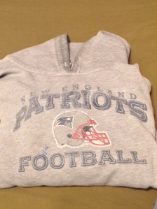 My freshly laundered Patriot's hoodie.